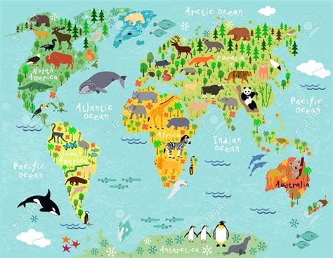 Animal Map Of The World Wallpaper - blue childrens world map wallpaper wp maps with road map
