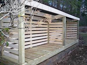 Simple Backyard Outdoor Firewood Shed With Roof And High