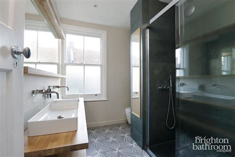 Hexagonal Grey Tiled, Slate Bathroom —hove  The Brighton
