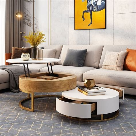 The sele coffee table is a perfect masterpiece for your living room. Modern Round Coffee Table with Storage Lift-Top Wood ...