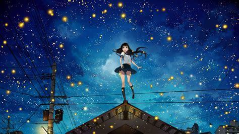 Wallpaper 1920x1080 Px Anime Girls Fireflies Night Original Characters Power Lines