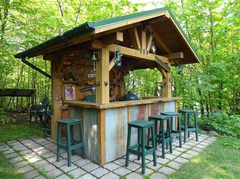 Rustic Outdoor Bar With Corrugated Steel Accents Outdoor