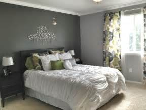 grey master bedroom accent wall patterned