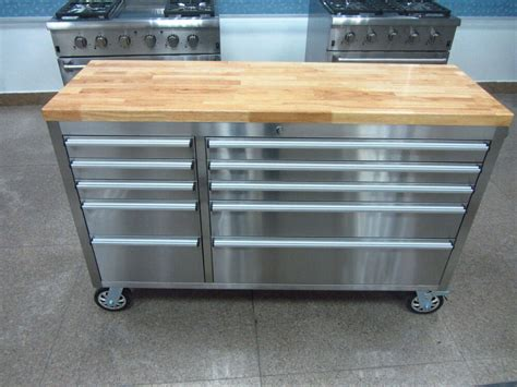 mechanic stainless steel tool chest rubber wood top