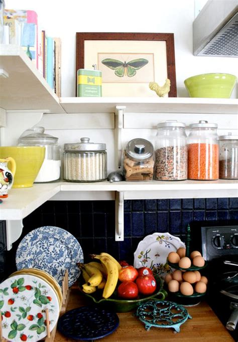 how to organize open kitchen shelves kitchen storage jars a great way of organizing 8773