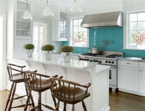 Teal Kitchen White Cabinets by Teal Backsplash Kitchen Backsplashes