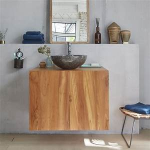 Meuble De Salle : meuble de salle de bain en bois de teck 80 bois dessus bois dessous ~ Nature-et-papiers.com Idées de Décoration