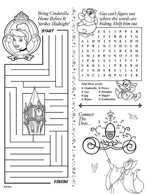 cinderella games for preschoolers disney printable activity pages disneyland world 517