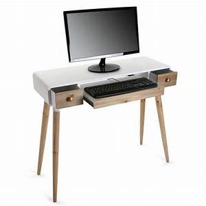 Bureau Bois Blanc : table bureau console avec tiroirs design scandinave bois et bois blanc versa treveris 21120024 ~ Teatrodelosmanantiales.com Idées de Décoration