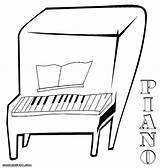 Piano Colouring Key Coloring Bord Paino Template sketch template