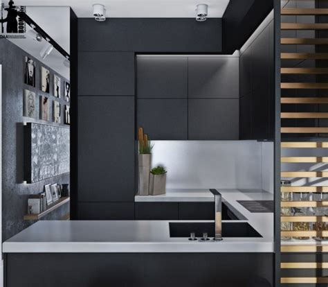 Large Wall Decor by Laconic Grey And Black Kitchen United With A Living Space