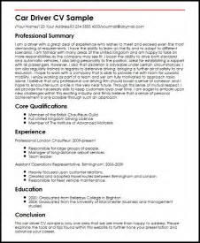 resume format drivers car driver cv sle myperfectcv