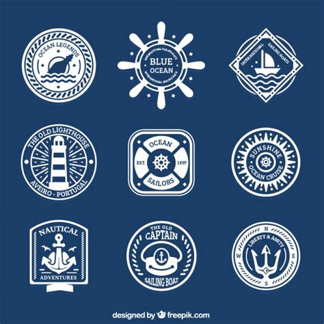 Sailing Boat Elements by Collection Of Badge With Sailing Elements Vector Free