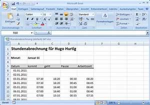 Excel Arbeitszeit Berechnen Formel : stundenabrechnung 2 excel ist sexy ~ Themetempest.com Abrechnung