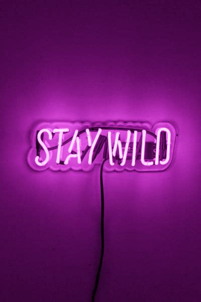 stay wild purple neon neon signs neon quotes