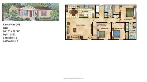 contemporary style house plans modular home ranch plan 266 2