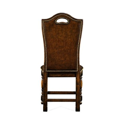 oak high back leather side dining chair swanky interiors