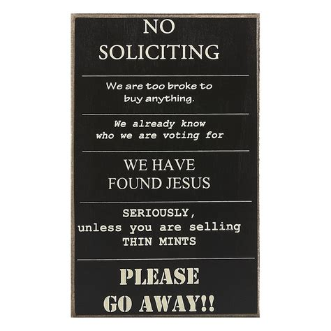 collins painting design no soliciting sign