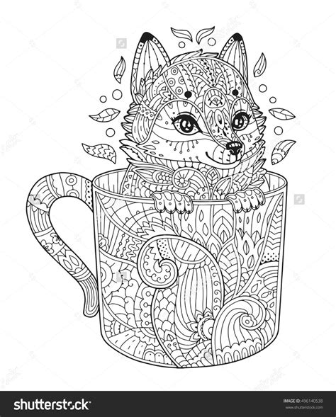 Volwassen Kleurplaat Wolf by Fox In Cup Antistress Coloring Page With Animal In