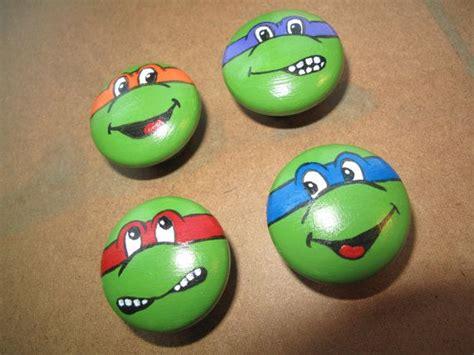 teenage mutant ninja turtle hand painted dresser knobs baby turtle rock painted