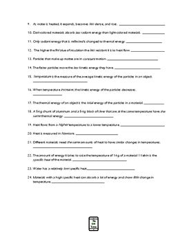 Heat And Thermal Energy Worksheet By The Shep Shop Tpt
