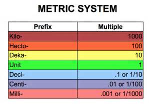 Elementary Metric System Conversion Chart
