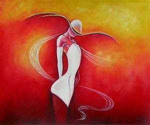 Tableau Peinture Sur Toile : peinture moderne une femme en blanc tableaux modernes ~ Teatrodelosmanantiales.com Idées de Décoration