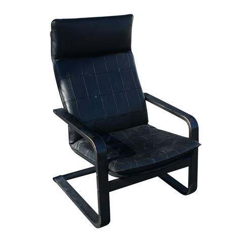 vintage black leather bentwood lounge arm chair mr10143