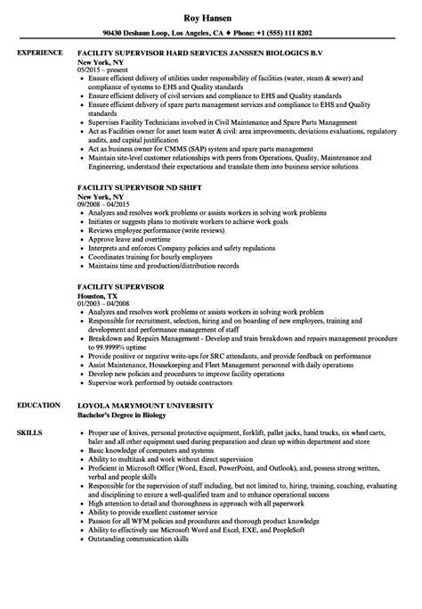 facility supervisor resume sles velvet