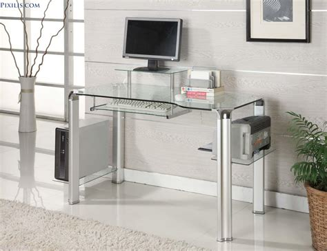 ikea clear glass computer desk furniture simple and neat home office decoration design