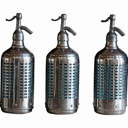 Soda Glass Bottles Siphon Seltzer 1940s Chrome