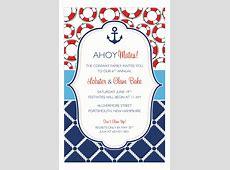 Preppy Anchor Nautical Shower Invitations Polka Dot Design