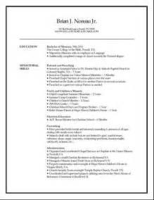 resume for ministry position 2013 children s ministry resume