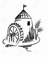 Mill Grist Watermolen Molino Vatten Agua Laminatoio Acqua Clipart Mala Template Graphic Illustratie Wheel Coloring Flour Drog Maler Handen Skissar sketch template