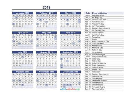 Yearly Calendar 2019 With Holidays Printable Pdf And Image