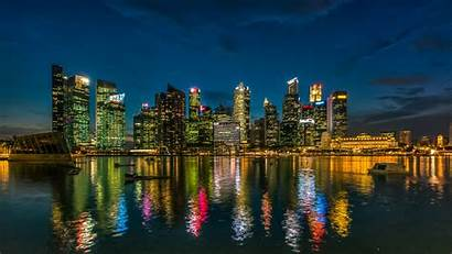 Singapore Desktop Wallpapers Skyscrapers Reflection Buildings Night