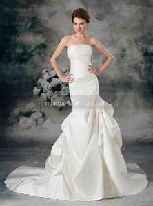 a line mermaid strapless chapel train satin wedding dress With a line mermaid wedding dresses