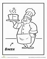 Baker Coloring Community Helpers Worksheet Preschool Pages Worksheets Education Workers Toddlers Sheets Bread Cook Theme Colouring Preschooler Letter sketch template