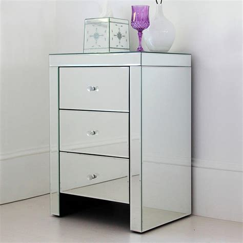 Bedside Tables Hd Pic by Three Drawer Mirrored Bedside Table By Out There Interiors