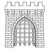 Gate Medieval Coloring Isolato Medievale Vettore Isolated Drawing Disegno Colorare Portone Tekening Illustrazione Coloritura Coloriage Poort Middeleeuwse Stockillustratie Kleuren Nell sketch template