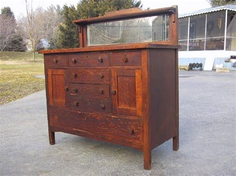 mission oak sideboard buffet mirror back 11 arts crafts