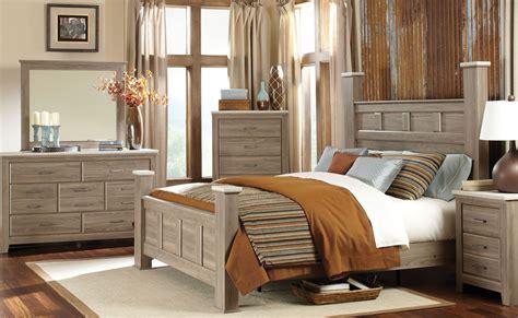 stonehill weathered oak poster bedroom set  standard