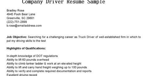 driver resumes company driver resume sle