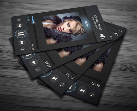 Free Music Player Style Business Card Template Psd