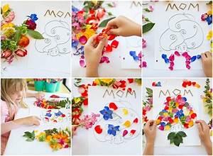 Idée Cadeau Fête Des Mères A Fabriquer : bricolage carte fete des meres enfant avec fleurs fleurs t ~ Nature-et-papiers.com Idées de Décoration