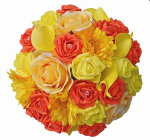 Wedding Flower Bouquet with Sunshine Yellow and Orange ...