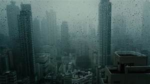 Window, With, Falling, Rain, At, Dusk, In, Skyscraper, Dark, And