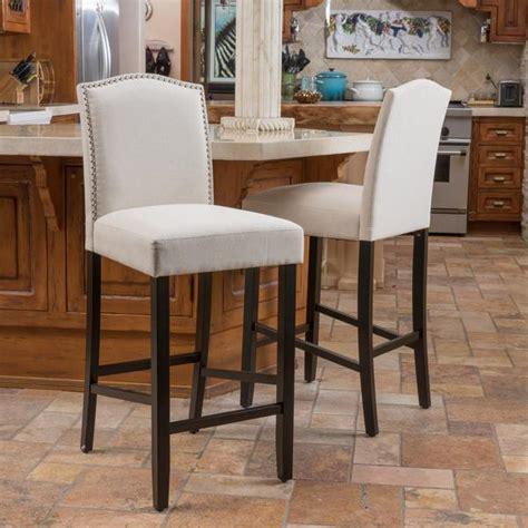fabric counter stools auburn ivory fabric backed barstool set of 2 gdf studio 3649