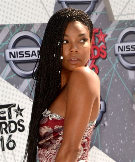 gabrielle union casual long curly braided hairstyle