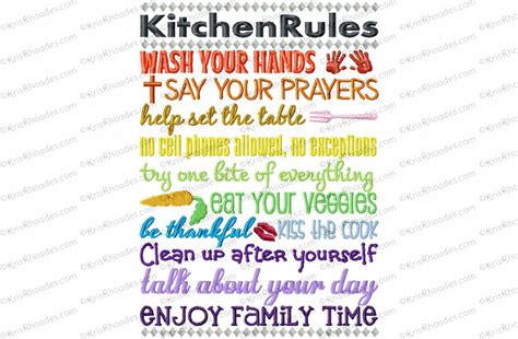 kitchen rules subway art embroidery design